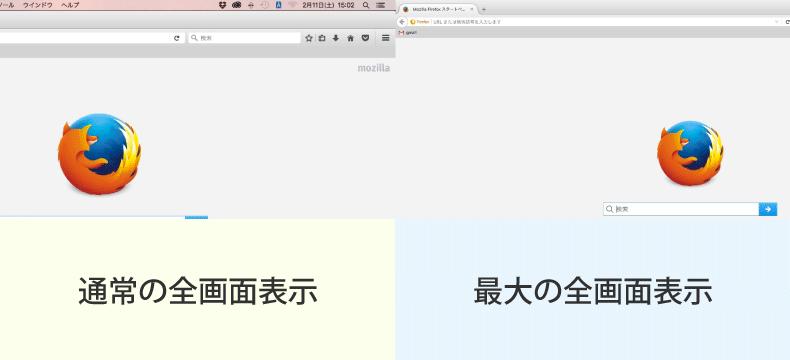 Macの全画面表示の比較