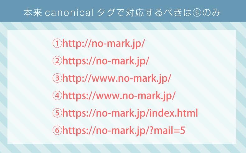 canonicalタグで対応するべきURLの例