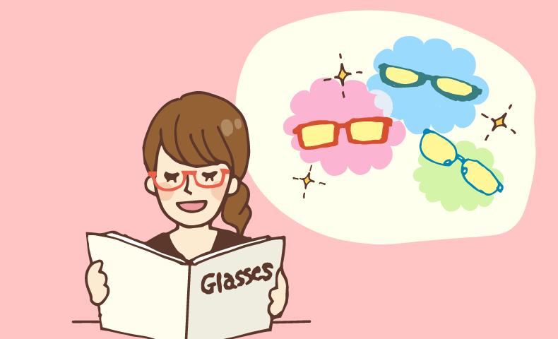PC眼鏡を選ぶ女性
