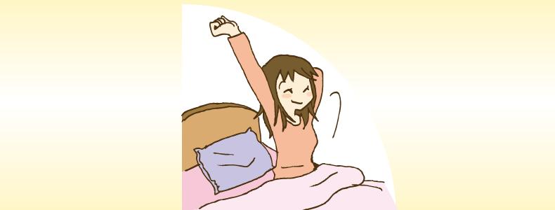 スッキリと目覚める女性