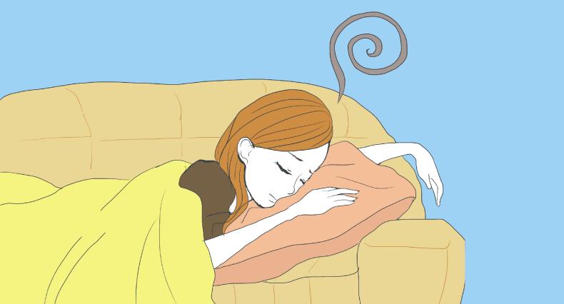 悪い夢を見ている女性