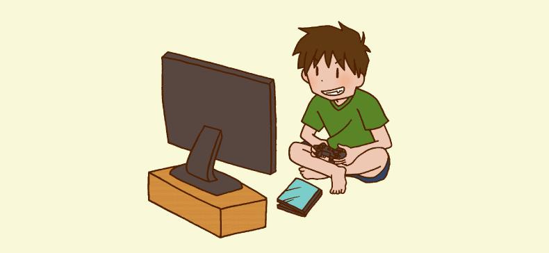テレビゲームをする少年