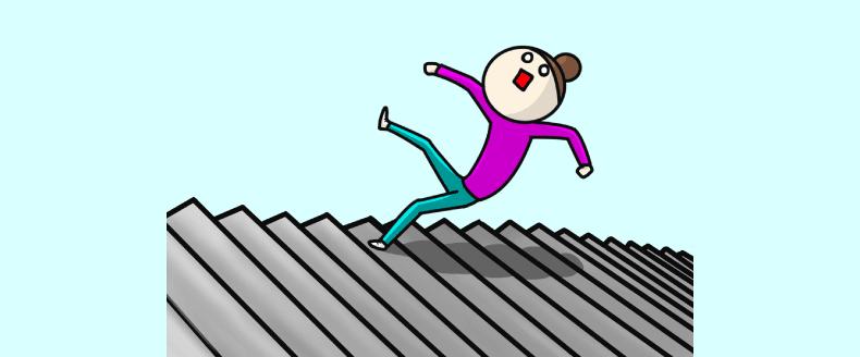 階段から落ちる女性のイラスト