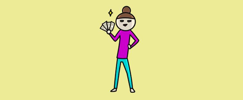 お金を持つ女性のイラスト