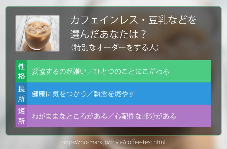 カフェインレス・豆乳などを選んだあなたは?(特別なオーダーをする人)